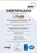 Certificado Iso 9001:2015 - De Lima Soluções em Transporte